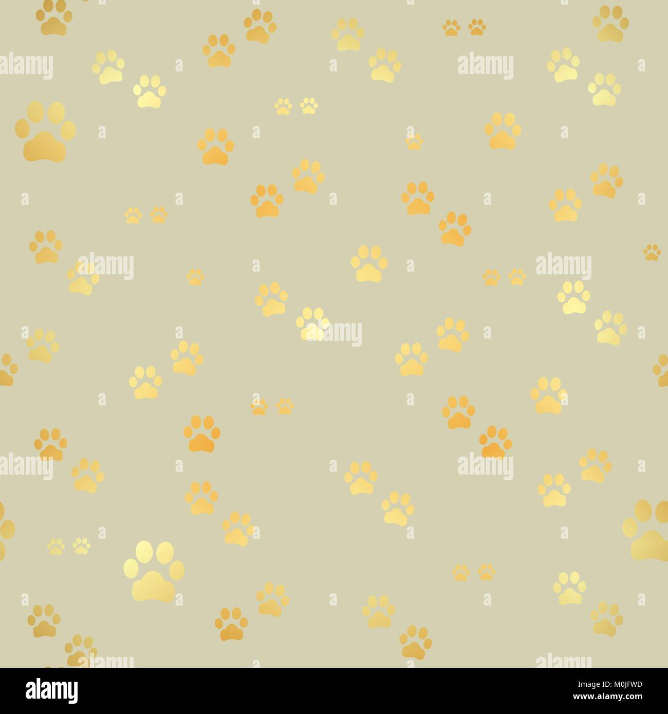 Dog Gold Paw Prints Seamless Pattern Of Animal Footprints Print