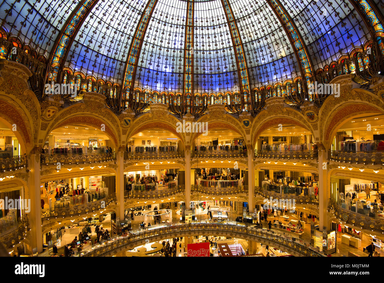 dome galeries lafayette shopping mall paris france stock photo