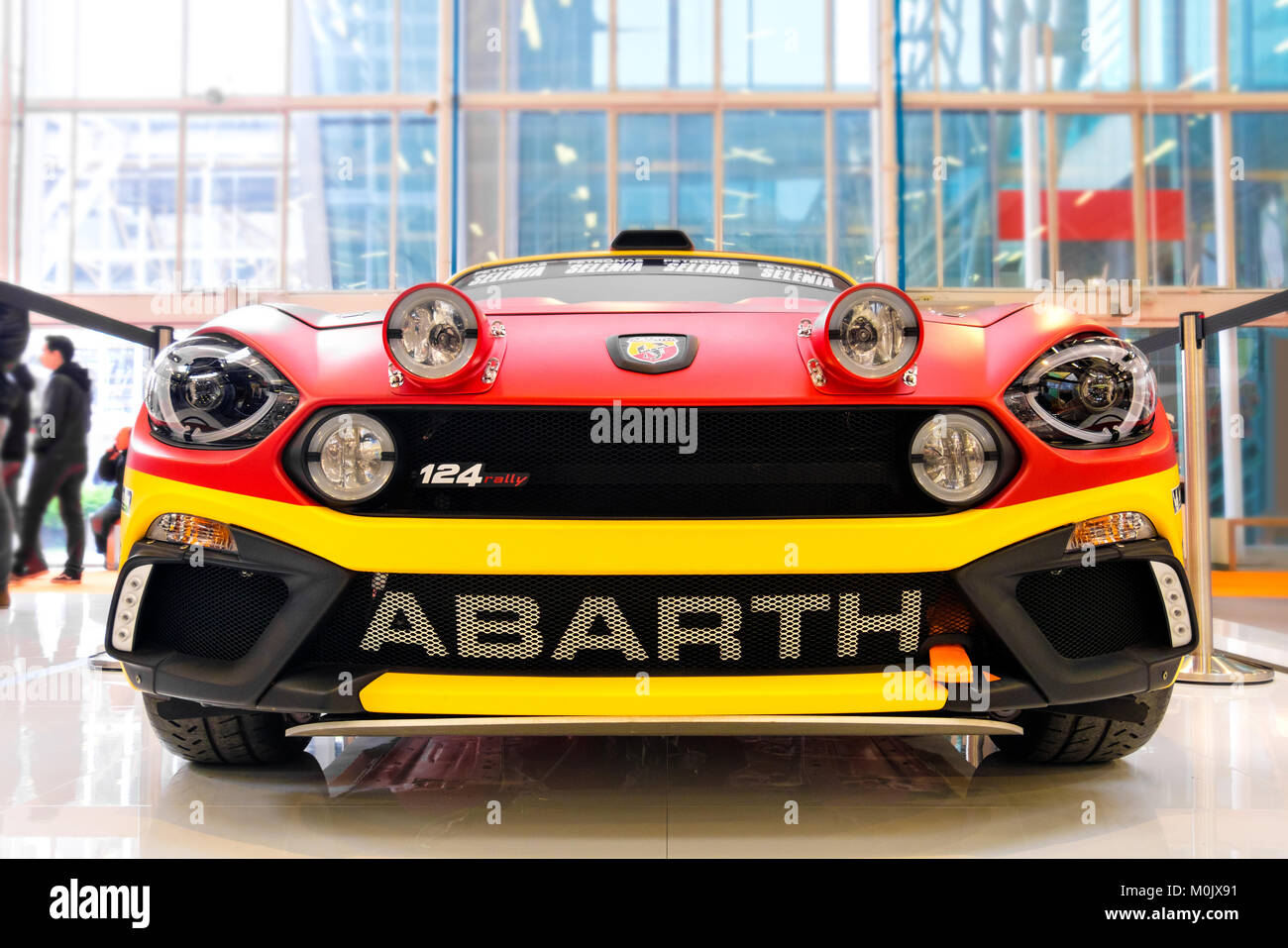 Front View Fiat Abarth 124 Rally Tuned Sport Cars Stock Photo