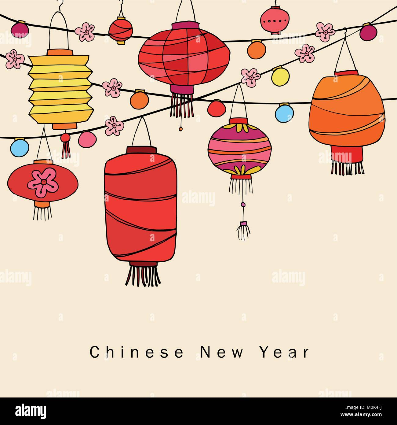 chinese new year greeting card invitation with string of hand drawn red lanterns asian party decoration vector illustration background