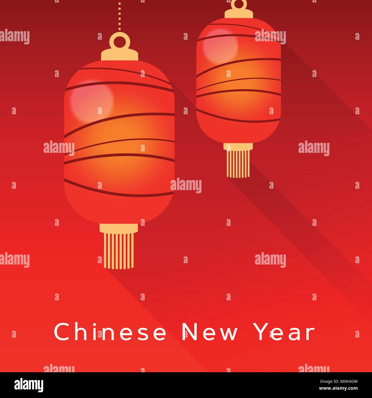 Chinese New Year Greeting Card Invitation With Hanging Red Lanterns