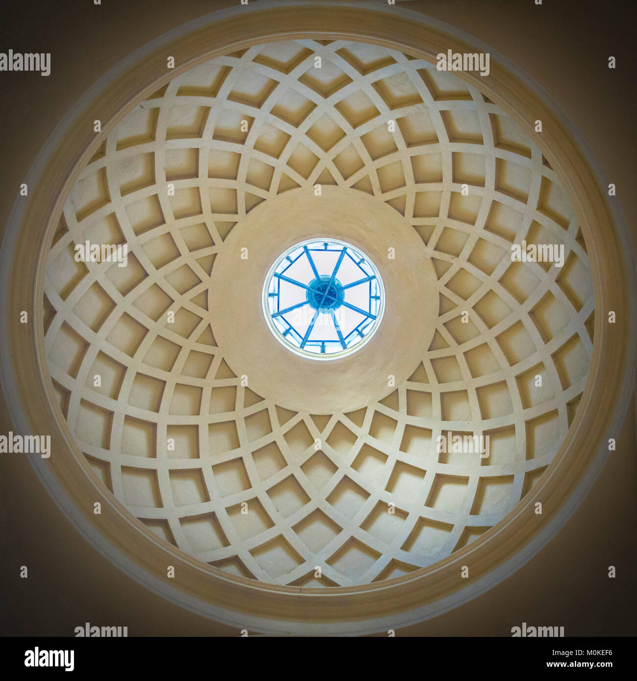 circular interior of an ancient church concrete dome with natural