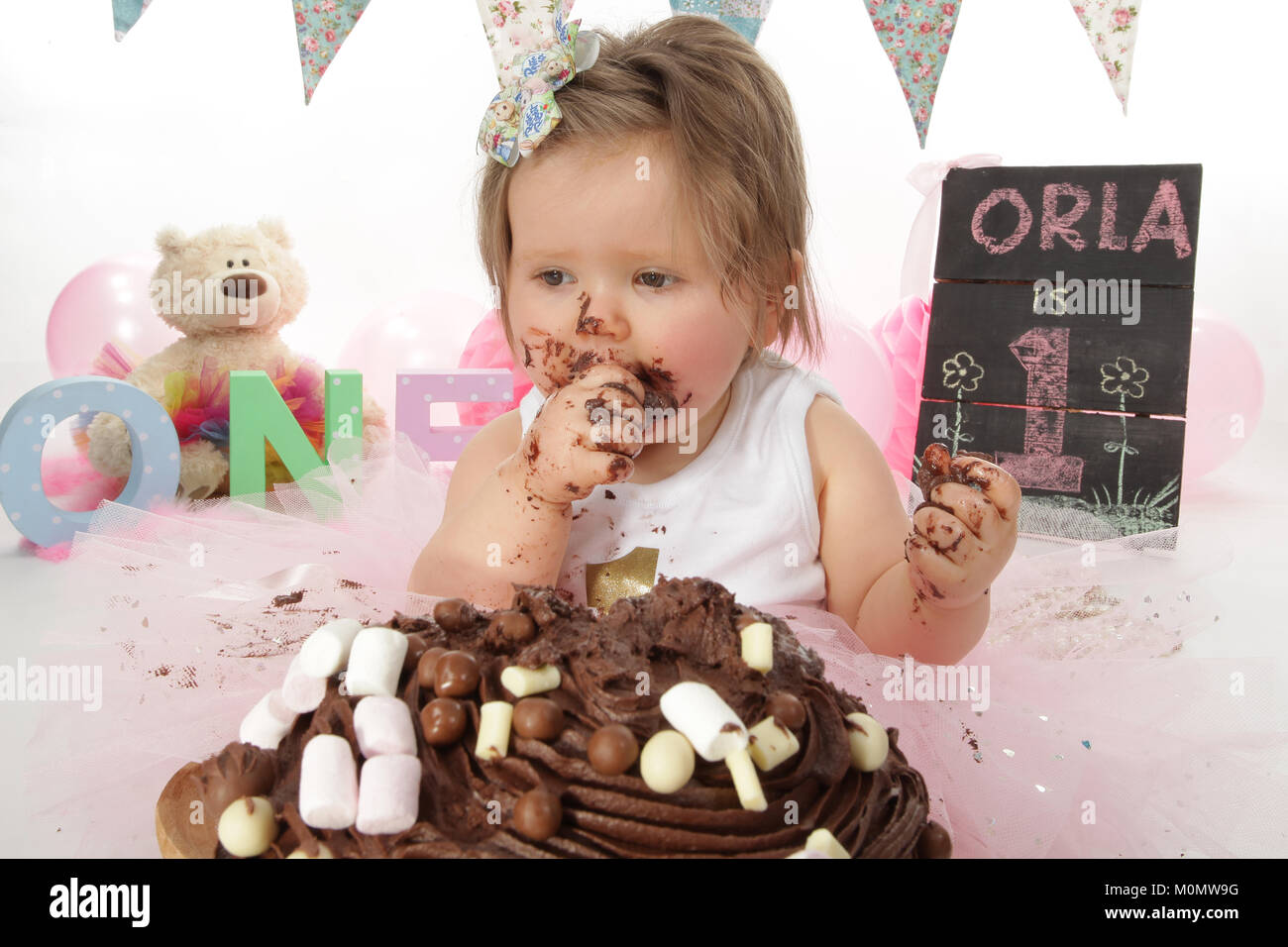 1 Year Old Girl Birthday Party Cake Smash Messy Chocolate