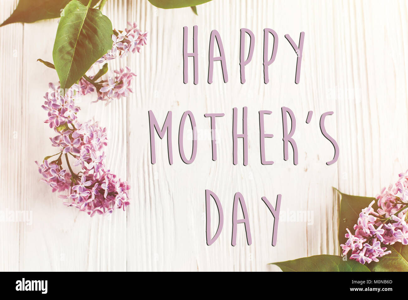 Happy mothers day text sign simple greeting card spring flat lay happy mothers day text sign simple greeting card spring flat lay image beautiful lilac flowers on rustic white wooden background top view space f m4hsunfo
