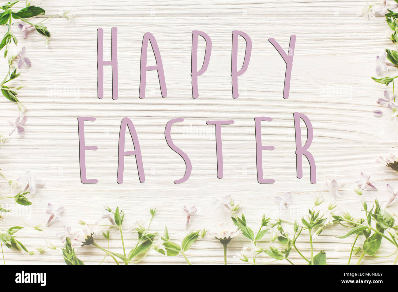Happy easter text sign simple greeting card fresh daisy lilac happy easter text sign simple greeting card fresh daisy lilac flowers and green herbs frame on white wooden rustic background top view spring fla m4hsunfo
