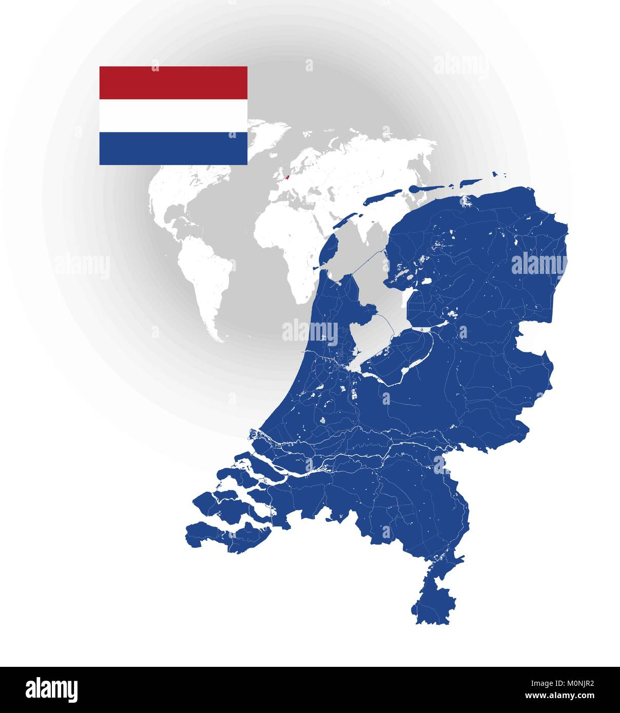 Map of netherlands with rivers and lakes national flag of stock map of netherlands with rivers and lakes national flag of netherlands and world map as background please look at my other images of cartographic ser gumiabroncs Image collections