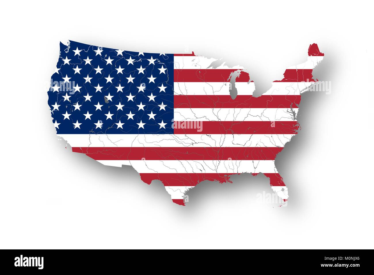Map of the United States of America with American flag. Colors of ...