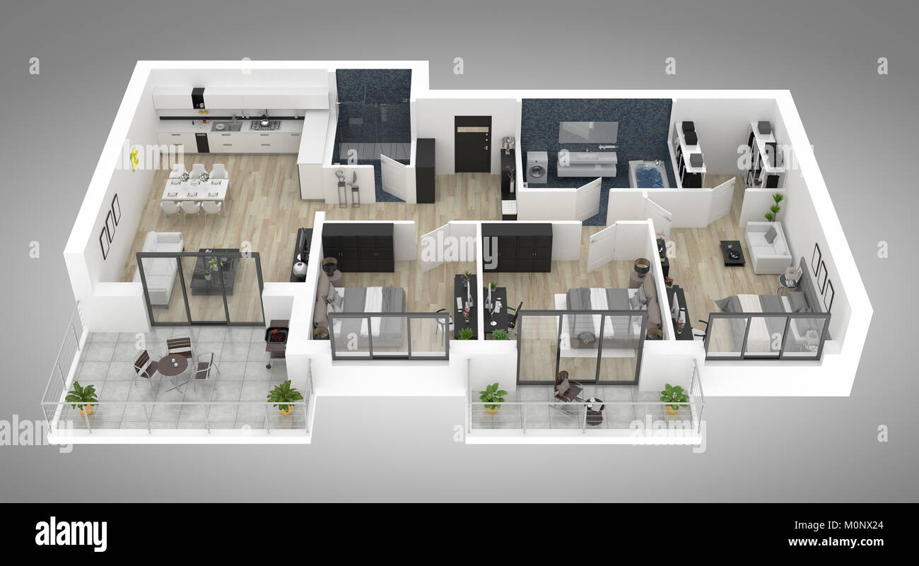 Floor plan of a house top view 3d illustration open concept living appartment layout