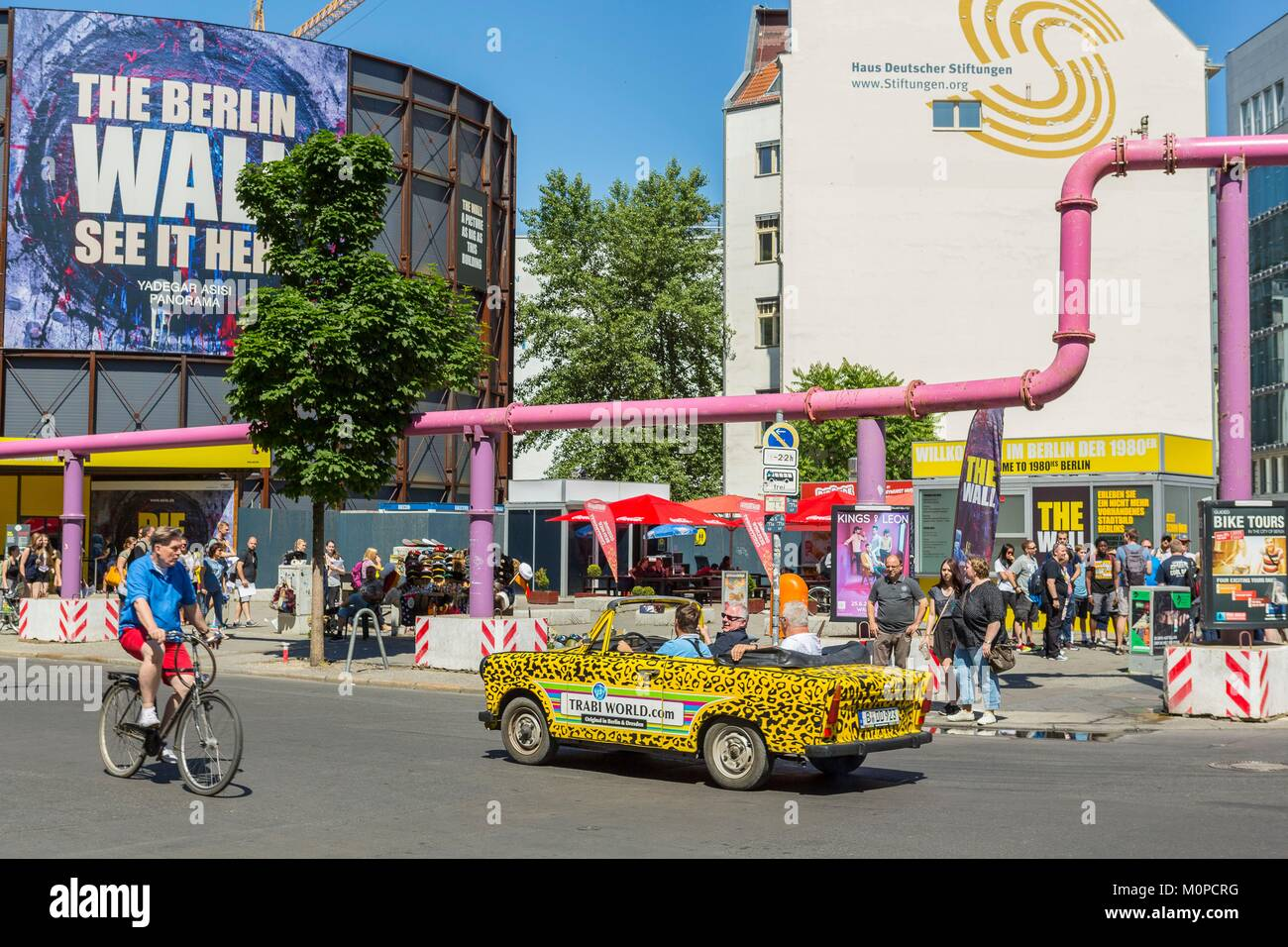 Germany Berlin Checkpoint Charlie Tourist Animation And Old Trabant