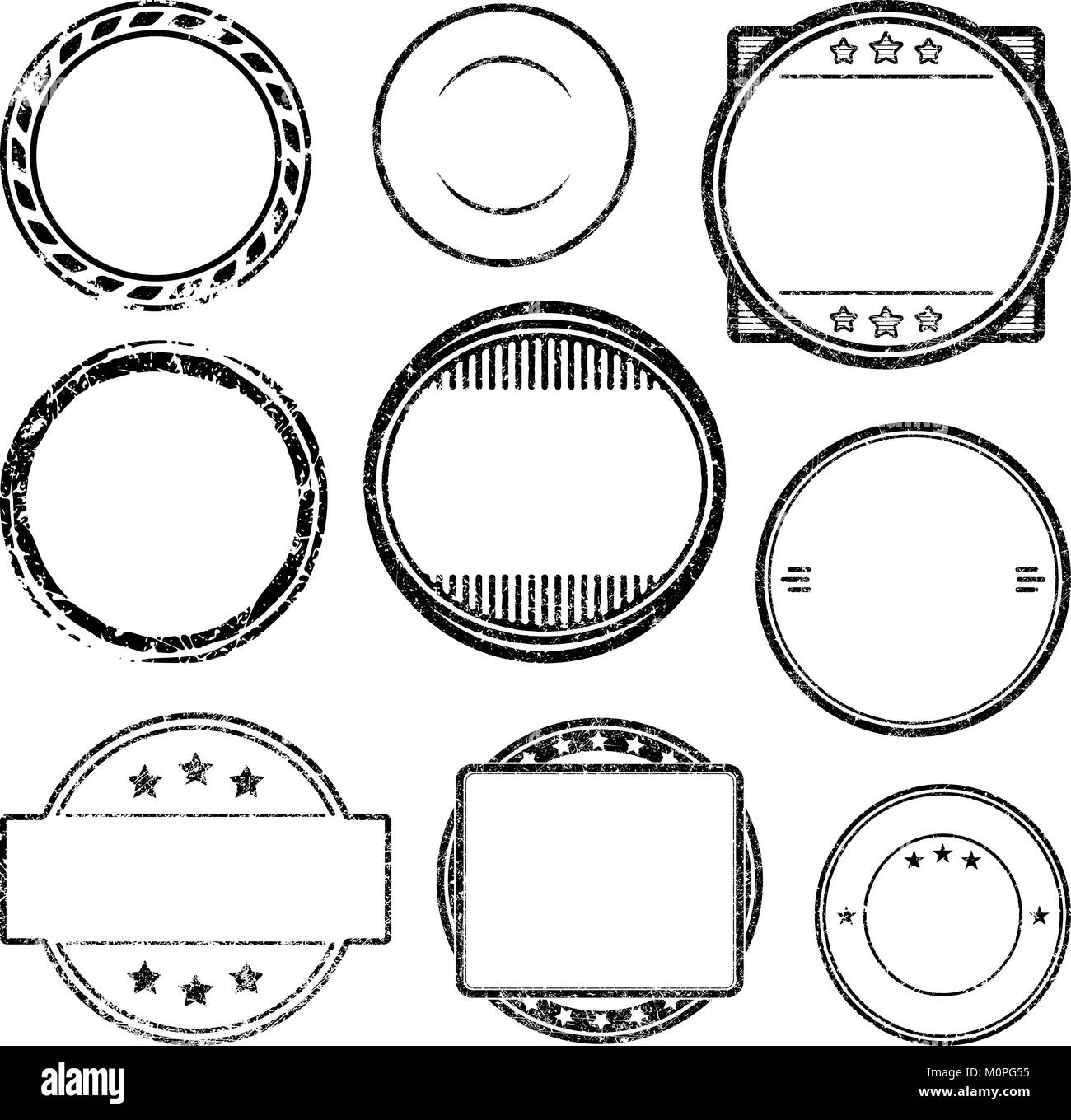 big set of grunge templates for rubber stamps stock vector art