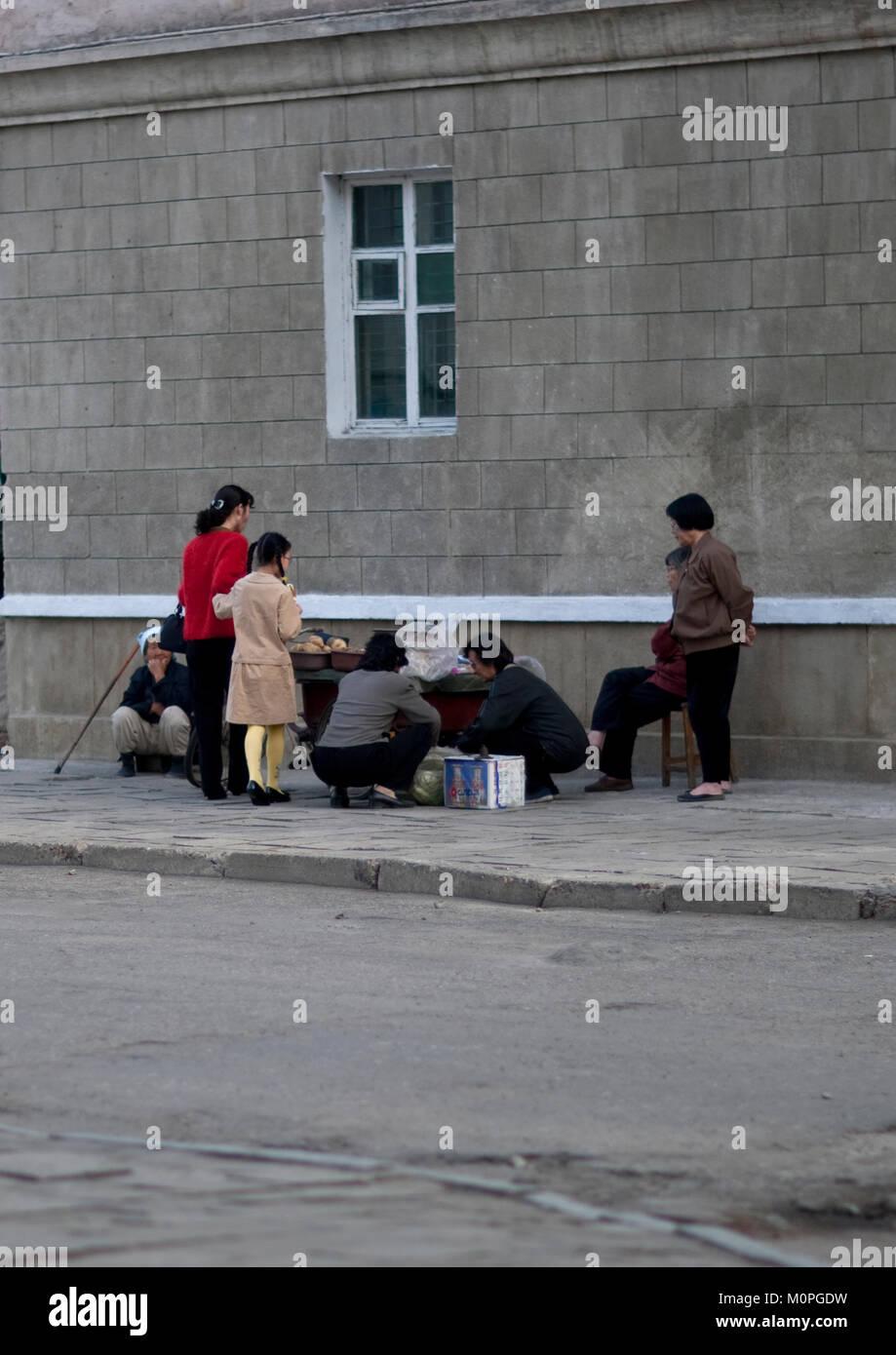 North Korean People Buying Food To Street Seller Pyongan Province Pyongyang North Korea