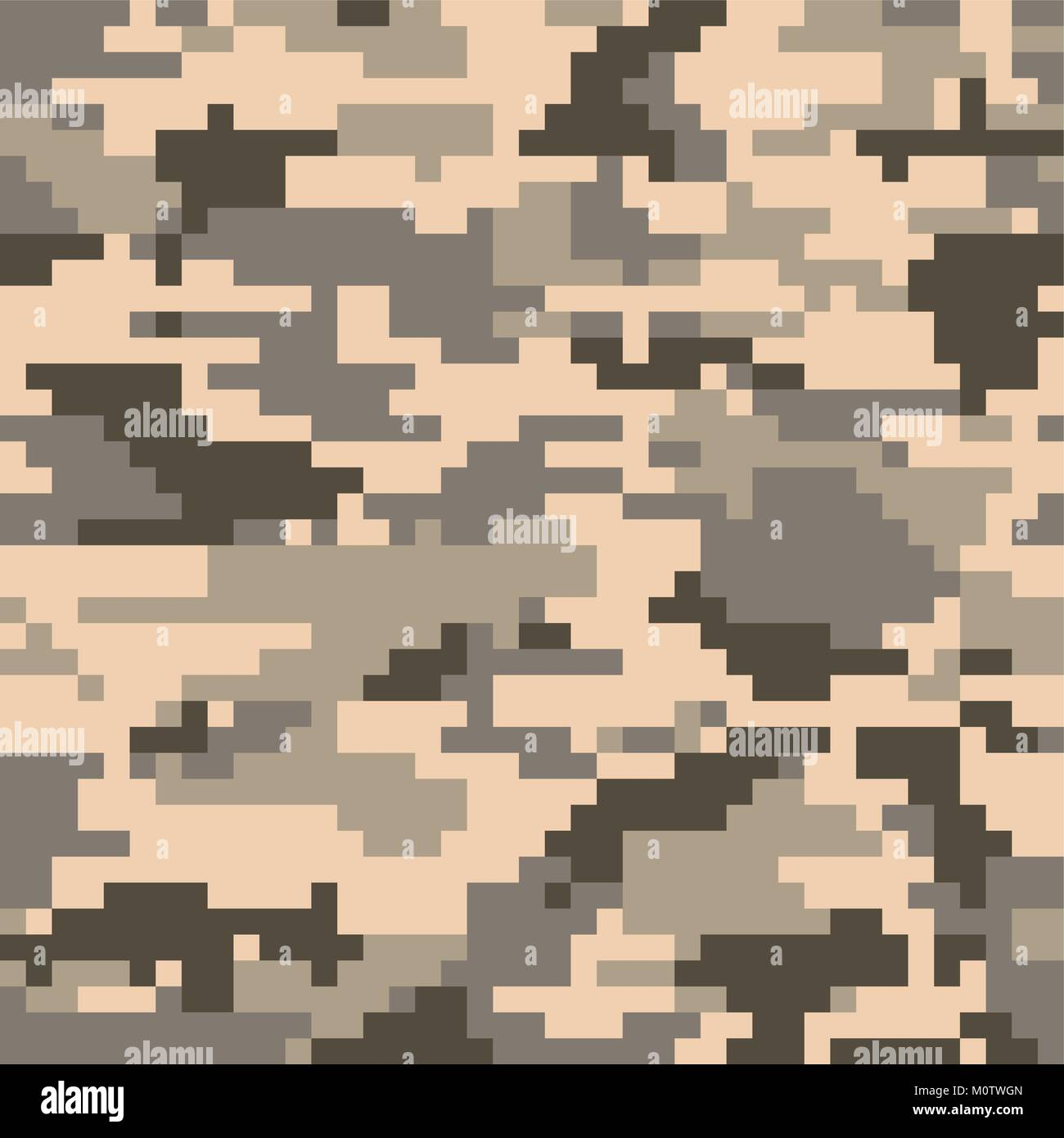 Digital Pixel Camouflage Seamless Pattern Vector Texture In Desert Colour