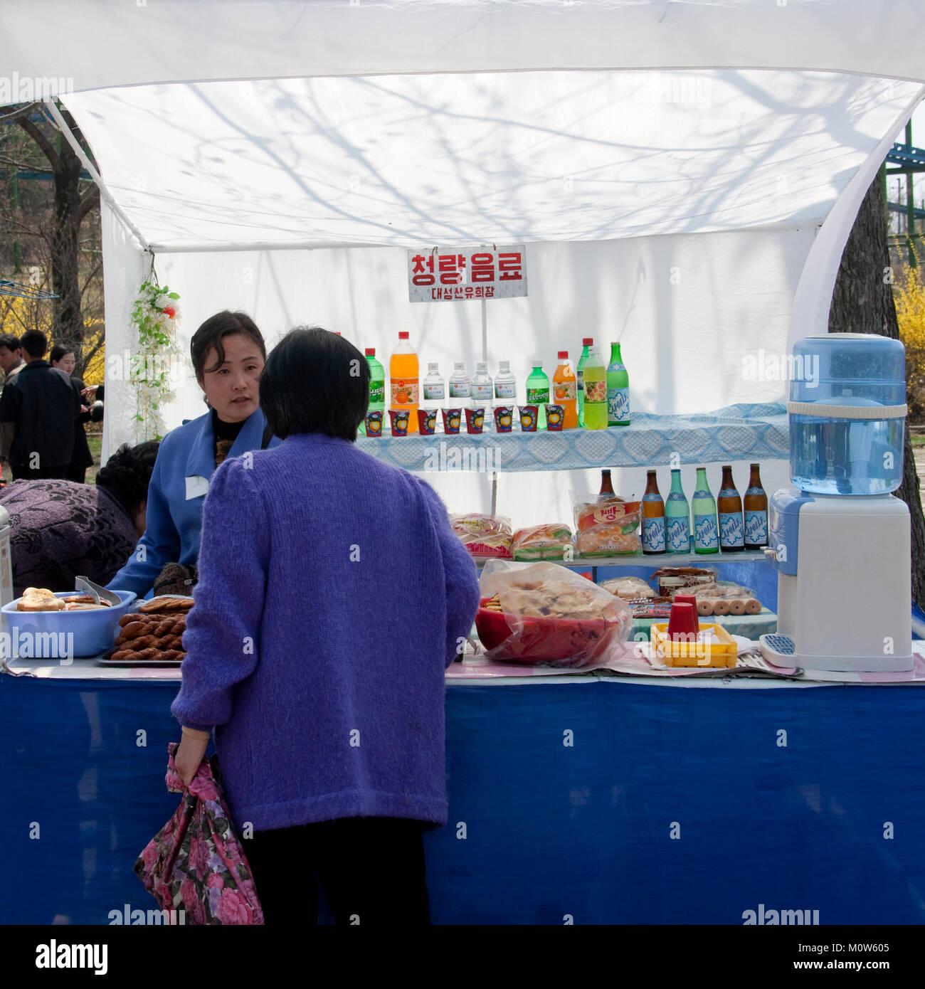 North Korean Food And Drinks Street Seller Pyongan Province Pyongyang North Korea