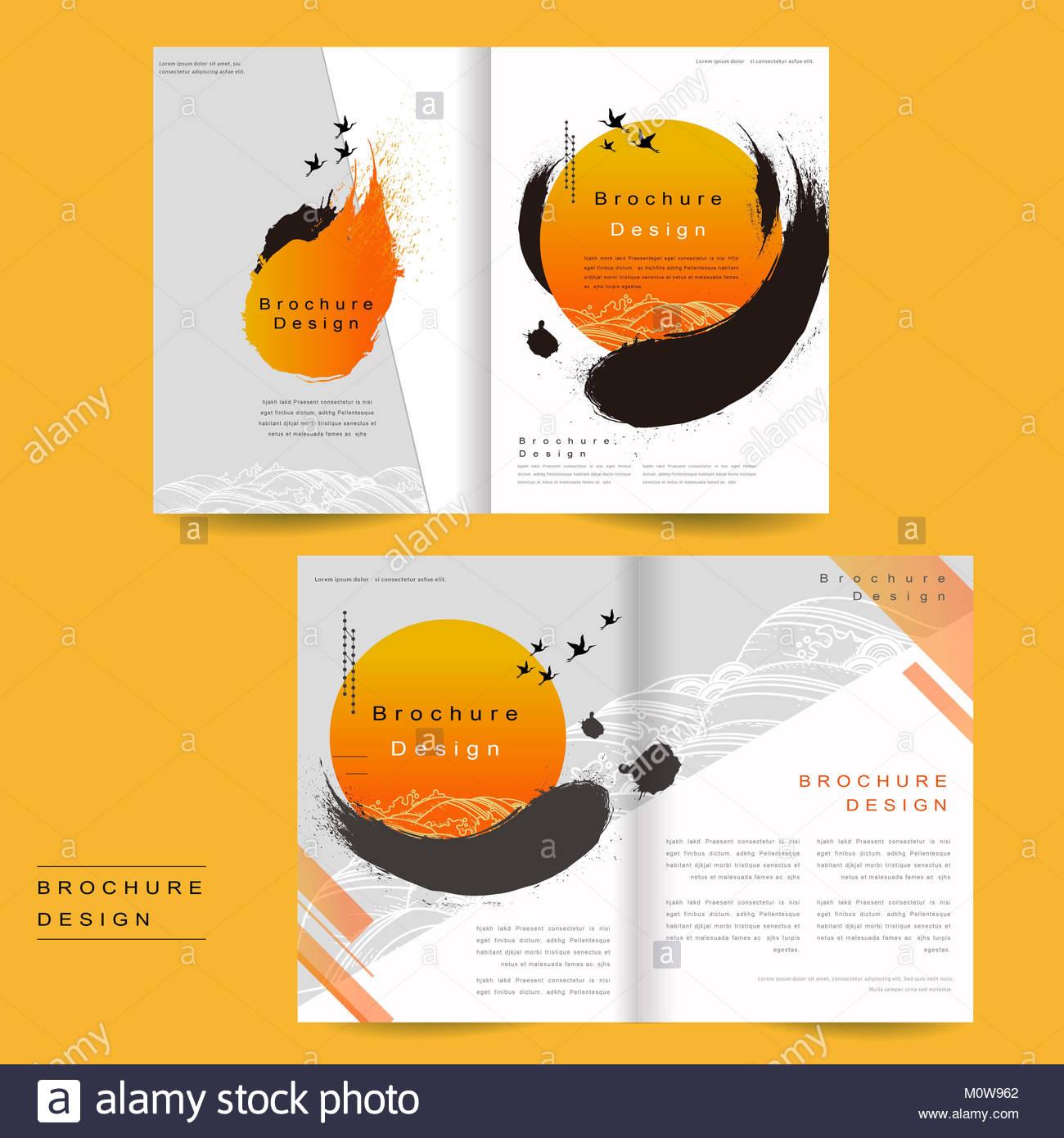 bi fold brochure template design with ink brush and geometric