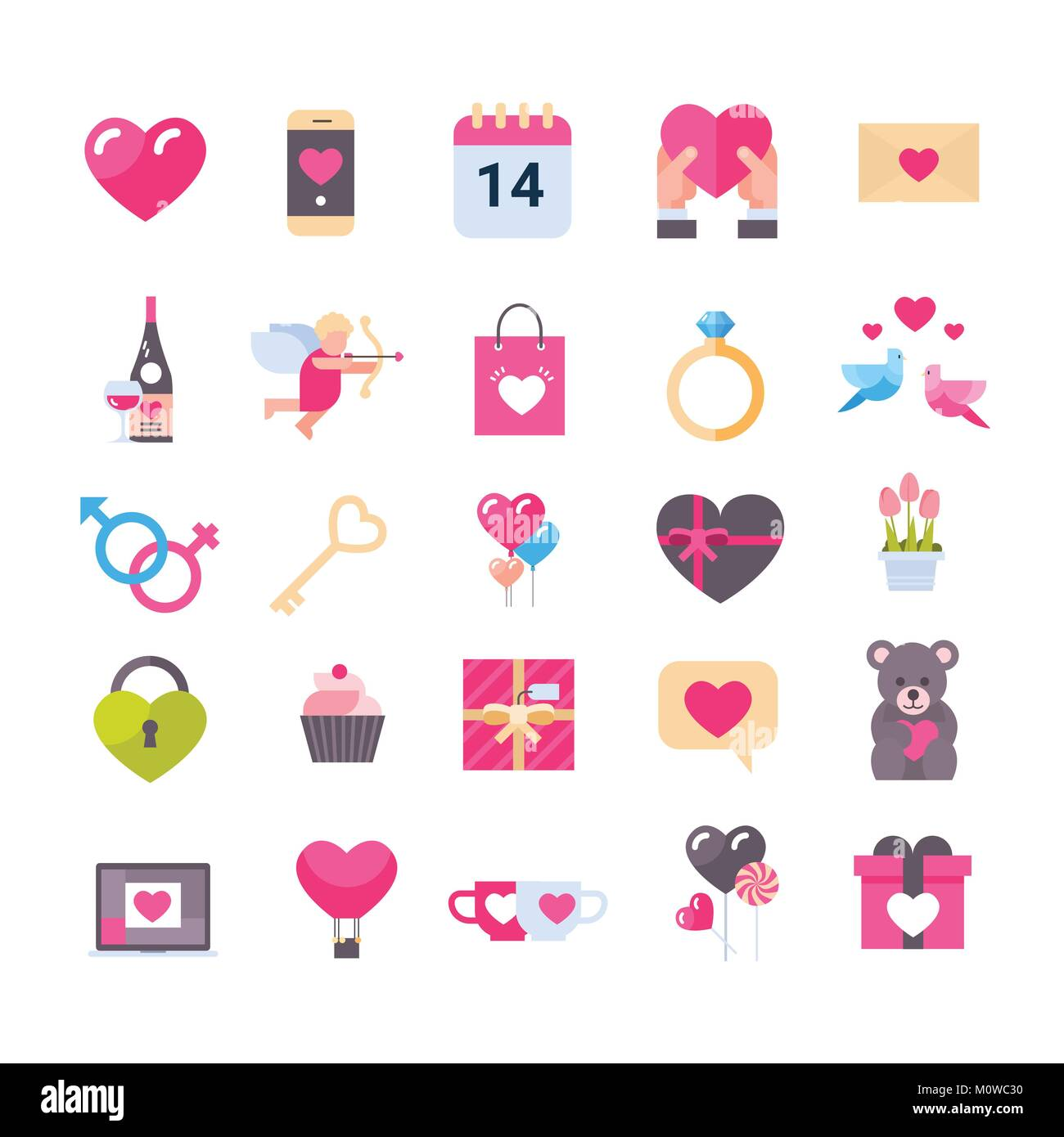 Set Of Icons With Hearts Valentines Day Holiday Gifts Greeting Stock