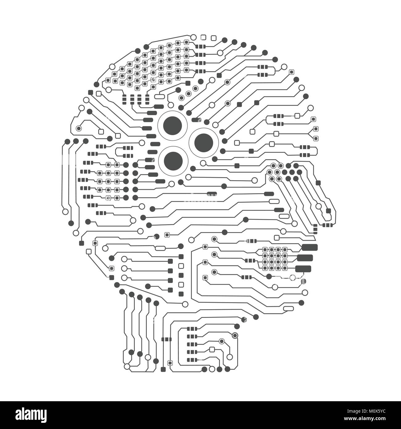Side Vector Circboard Wiring Diagram Detailed Diagrams Circuit Board Artificial Intelligence Brain Or In Head Shape Carrier Transicold