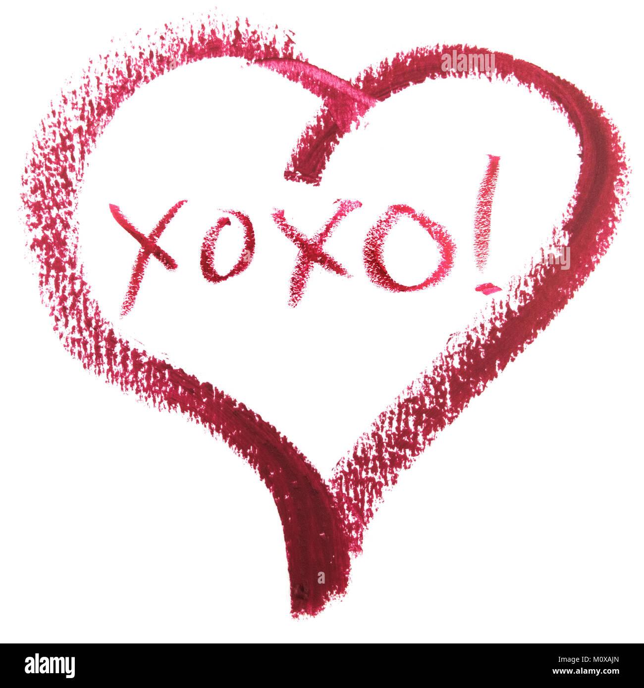 Hugs And Kisses Xoxo Message In Heart Shape Stock Photo 172682797