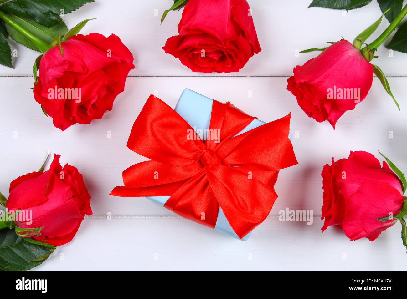Pink Roses With A Gift Box Tied Bow Template For March 8 Mothers Day Valentines