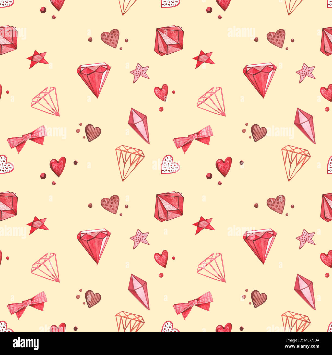 Seamless Patterns Pink Watercolor Set Of Elements For Valentine S