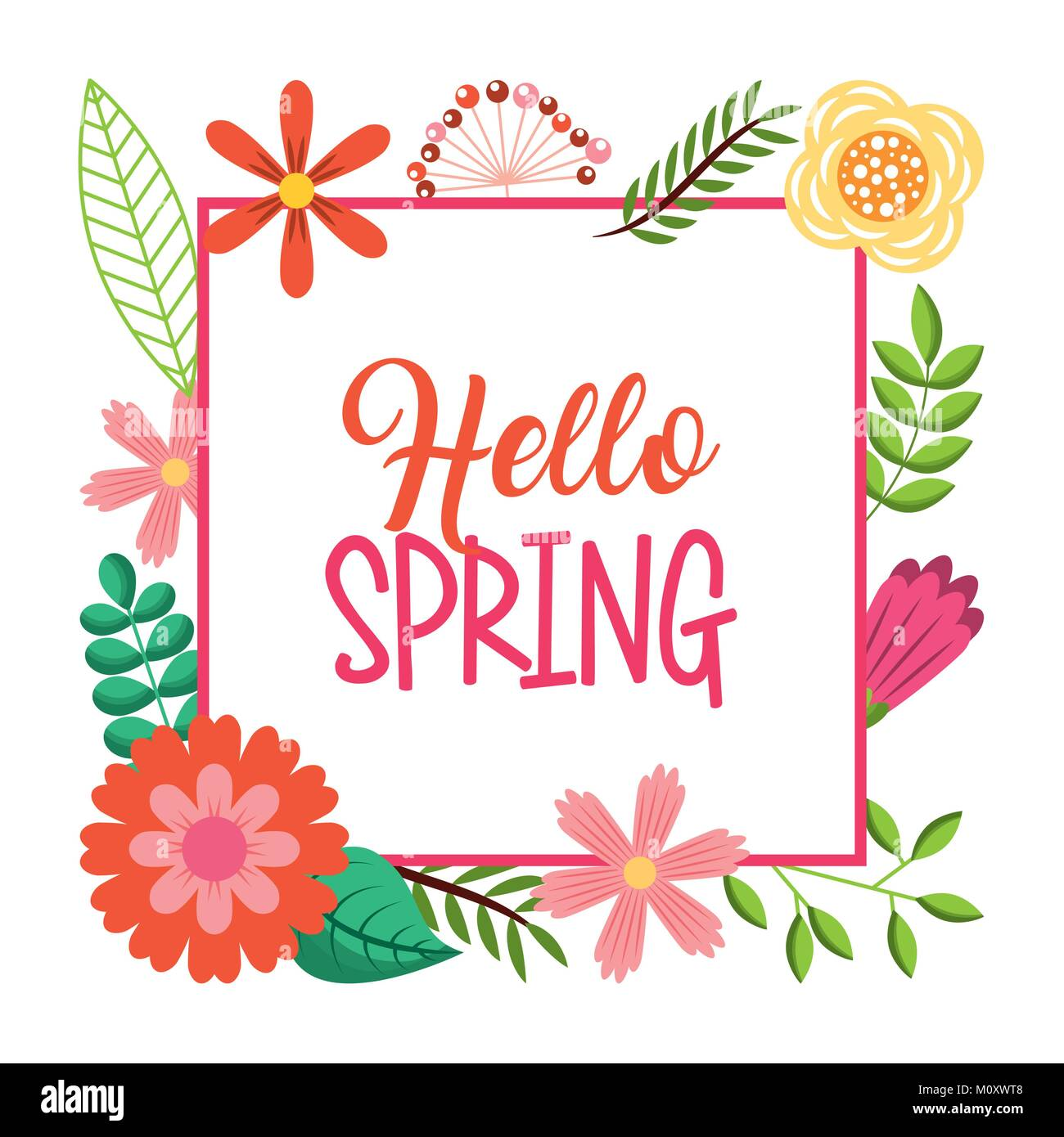 Hello Spring Card Lettering Text Frame Flowers Decoration