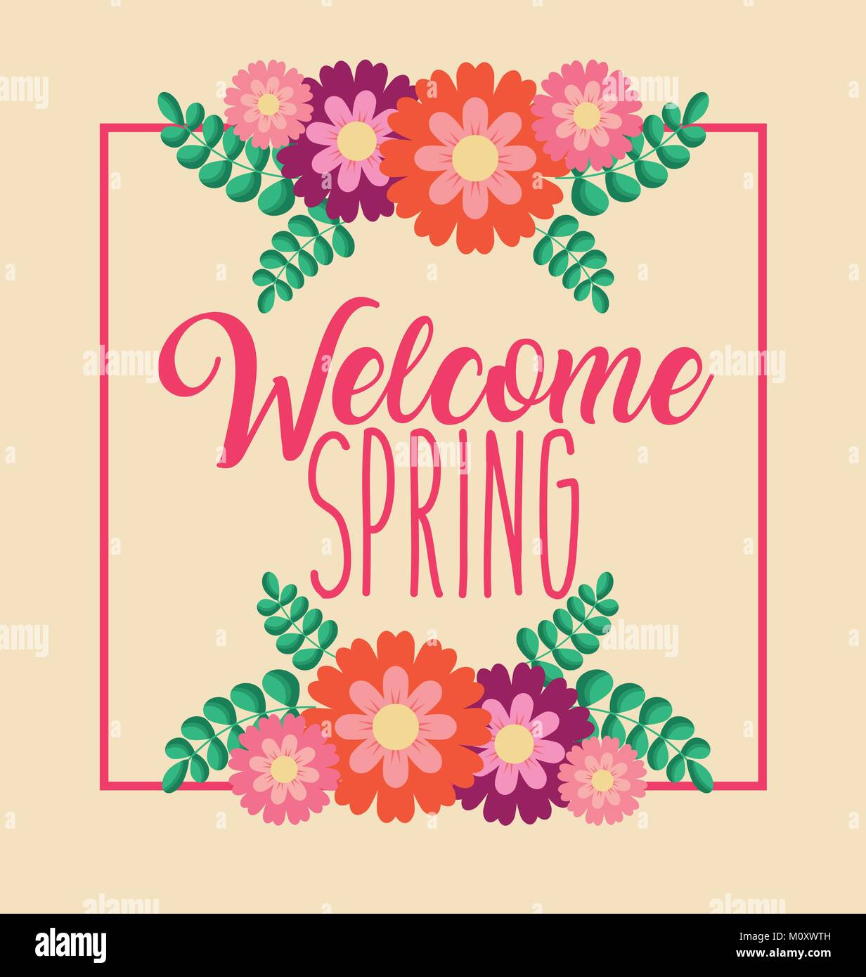 Welcome spring greeting card celebration flowers natural stock welcome spring greeting card celebration flowers natural kristyandbryce Choice Image