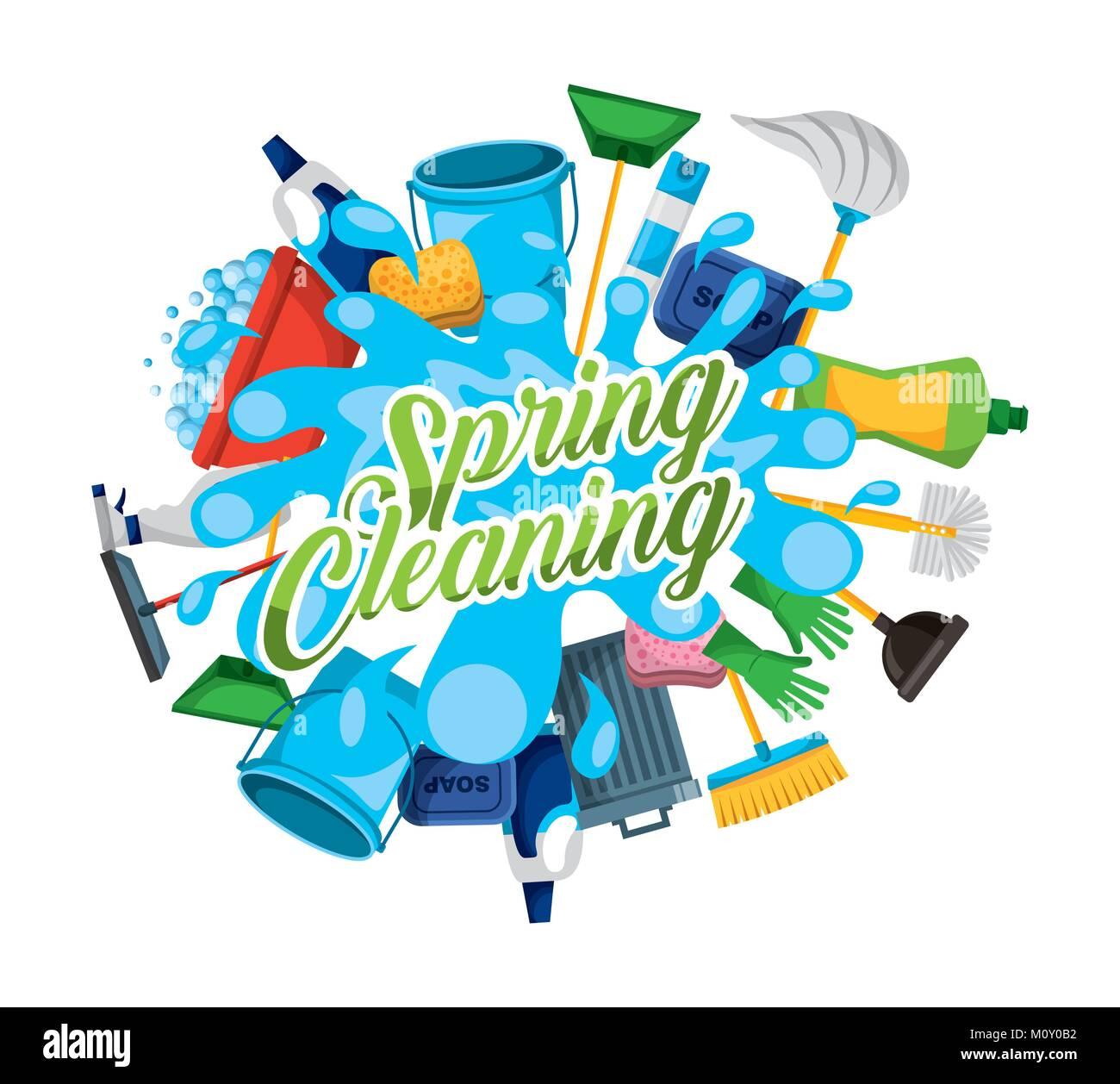 spring cleaning water splash work supplies stock vector art