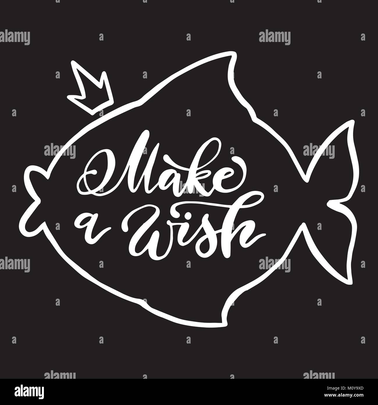calligraphy make a wish phrase in fish shape outline vector handwritten lettering