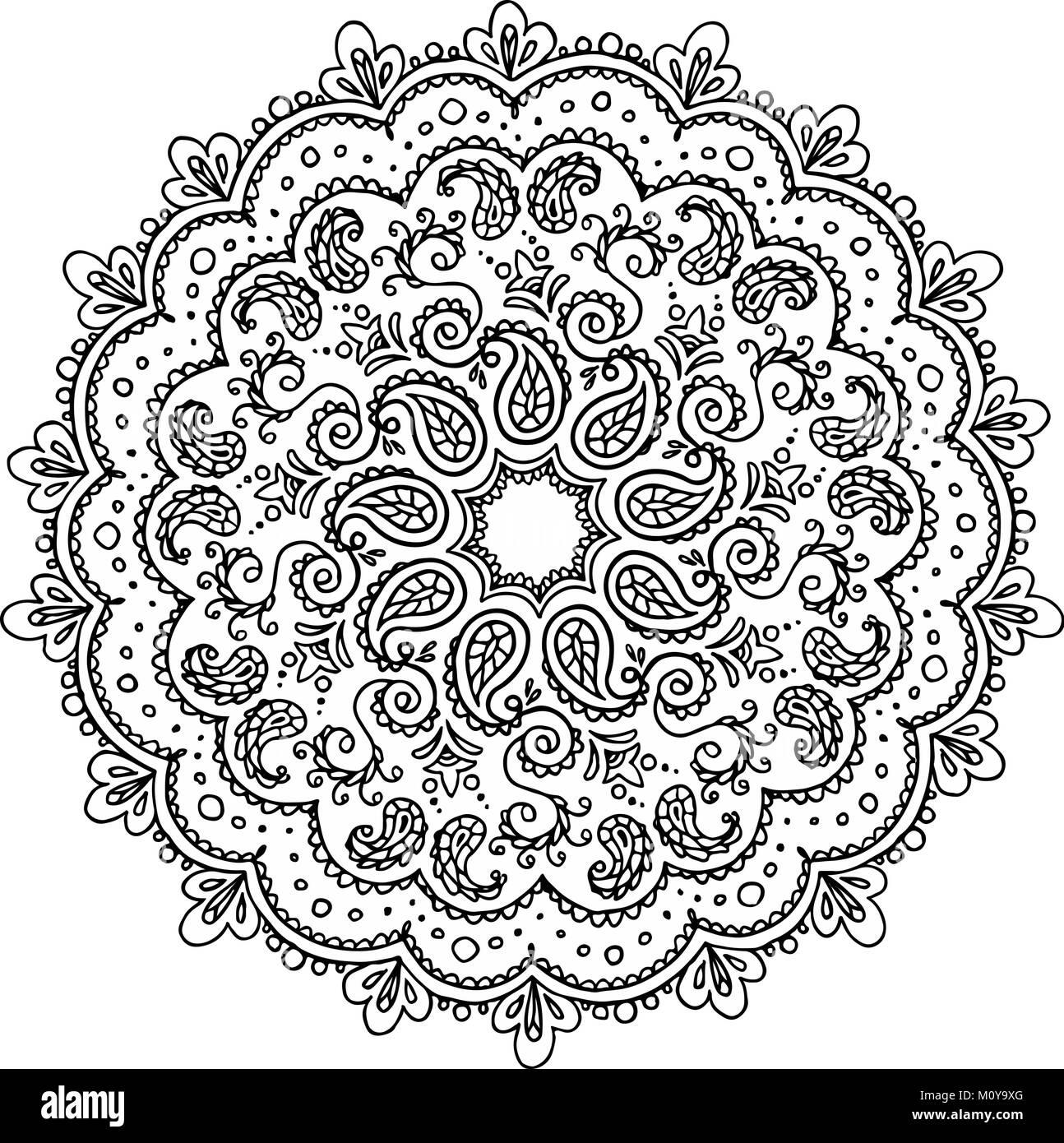 Boho motives ornament. Meditation coloring book page. Vector ...