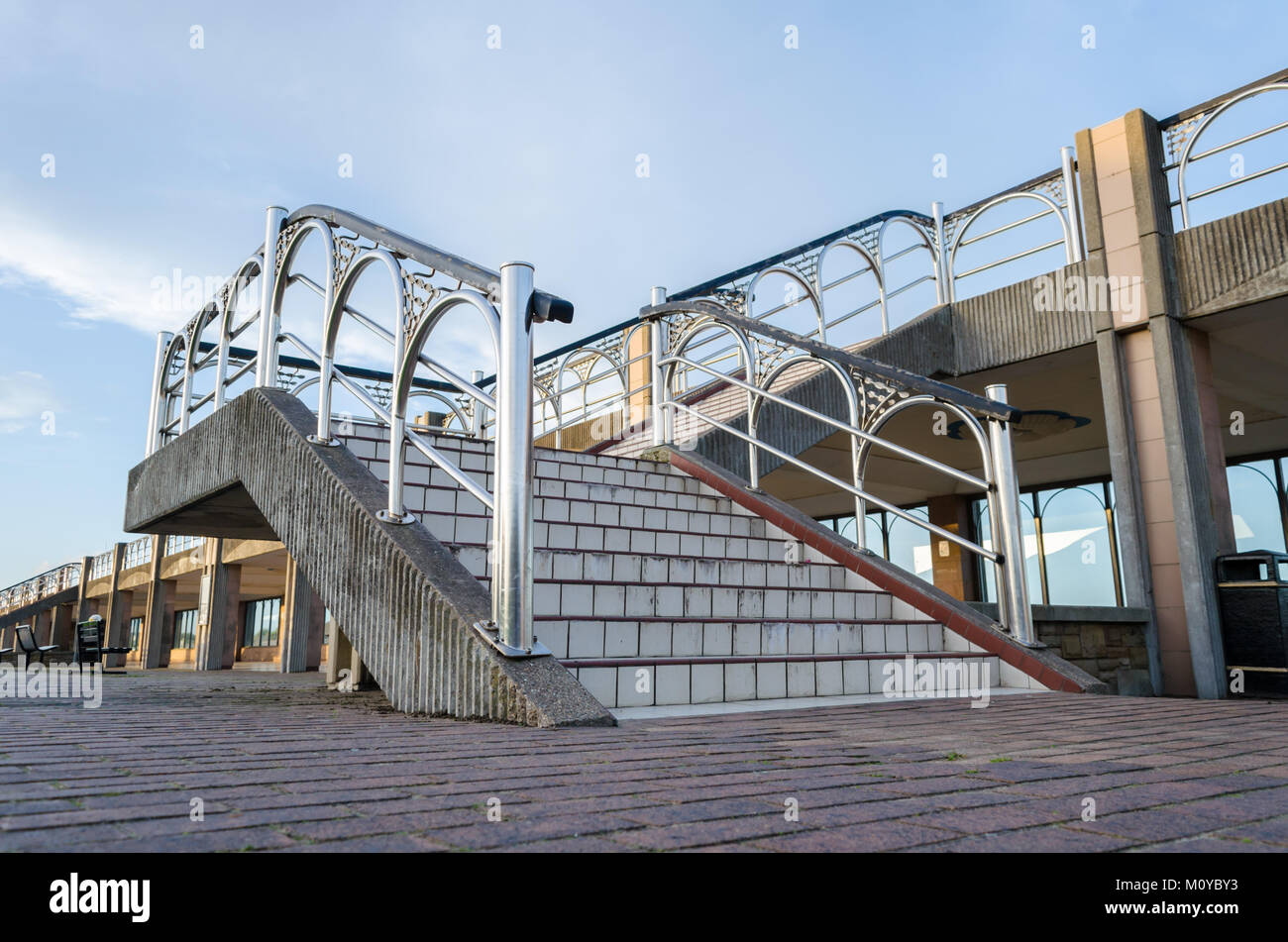 Ornate Stairway At The Arcade Located At The Amphitheatre, South Shields    Stock Image