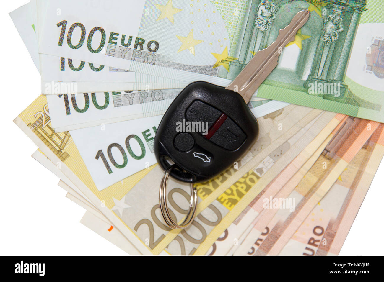 Car Key On Euro Money Background Isolated On White Background