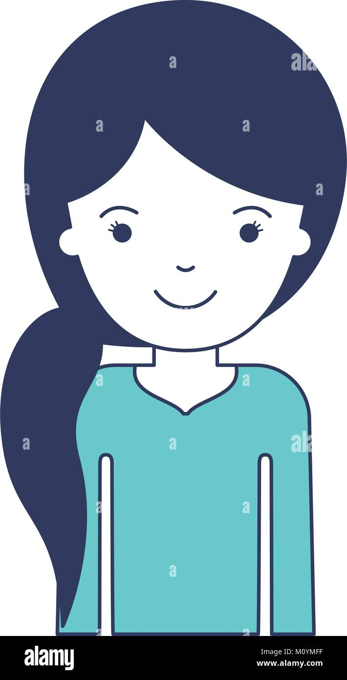 Half Body Woman With Pigtail Hairstyle In Blue Color Sections Stock