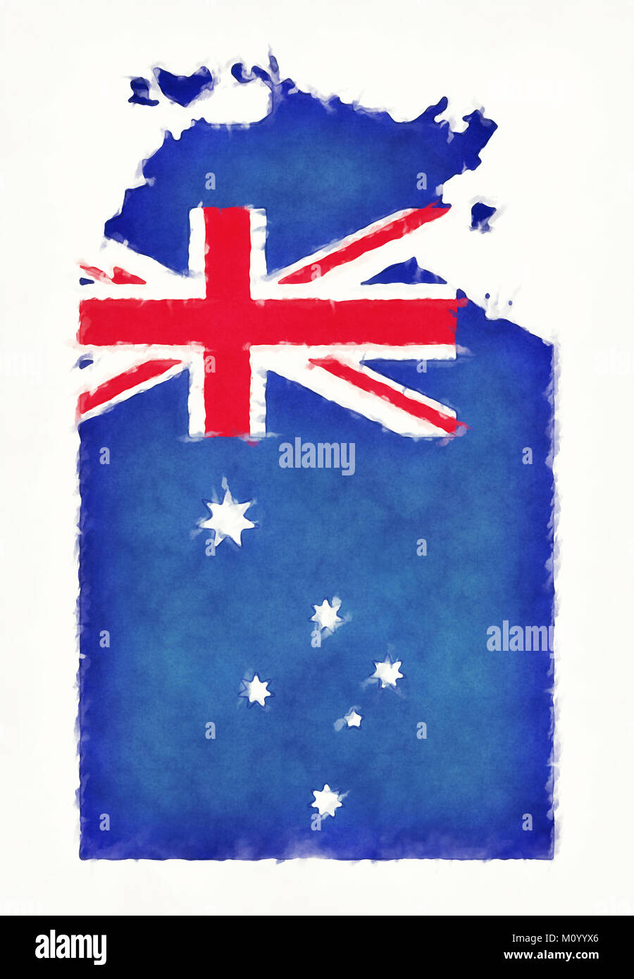 Northern territory flag stock photos northern territory flag northern territory watercolor map with australian national flag in front of a white background stock biocorpaavc Choice Image