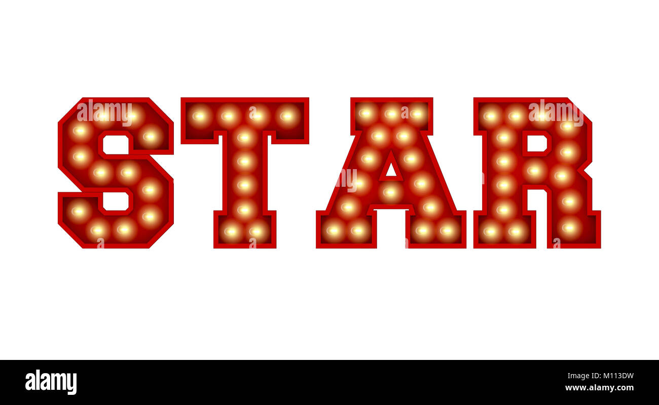star word made from red vintage lightbulb lettering isolated on a