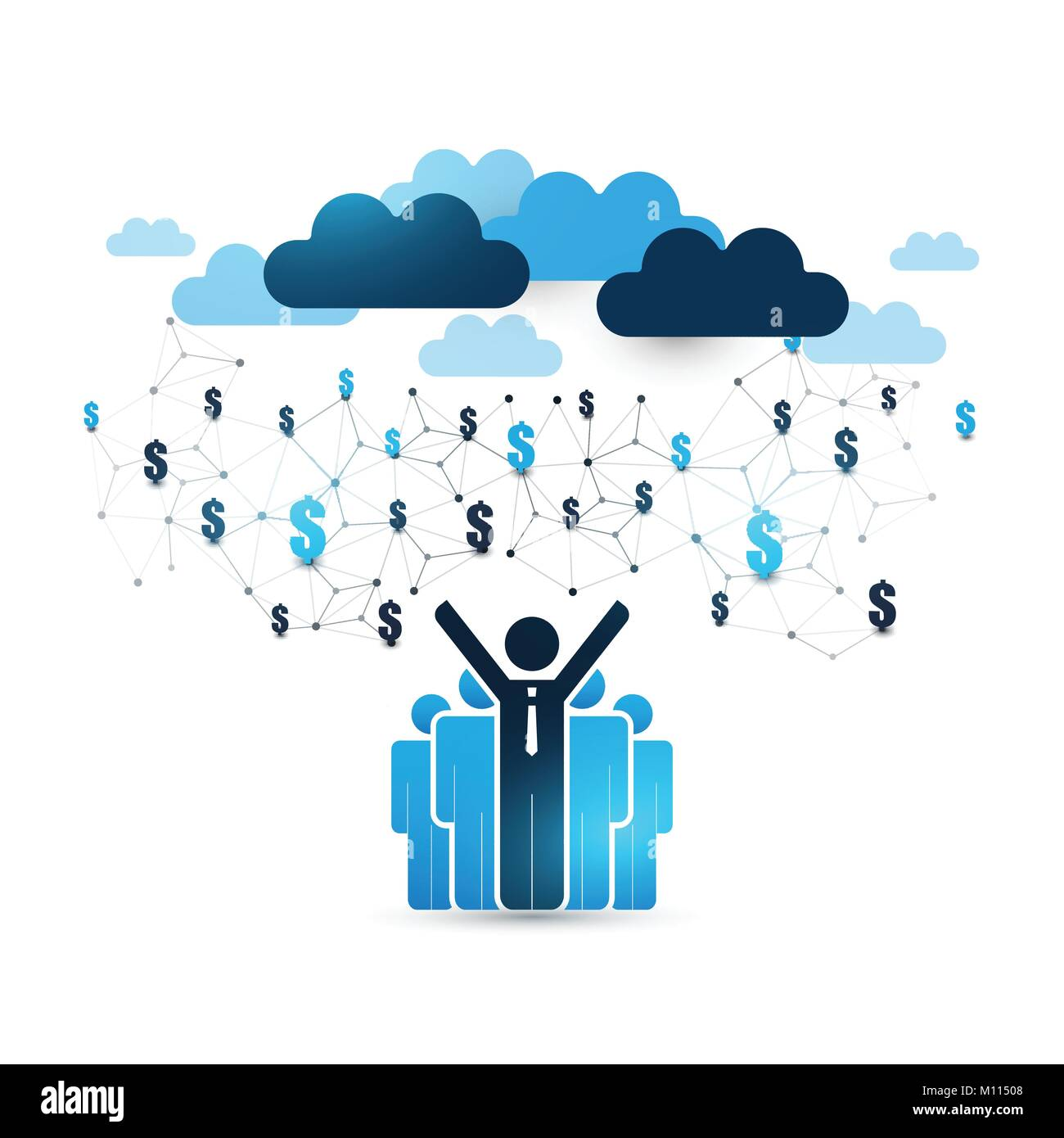 Blue cloud computing design concept with standing businessmen icons blue cloud computing design concept with standing businessmen icons and world map digital network connections technology background vector gumiabroncs Gallery