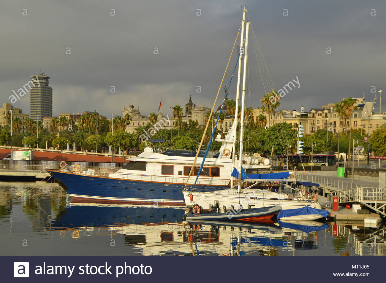 Boats yachts in Port Vell, Ciutat Vella Barcelona Spain Europe Stock ...