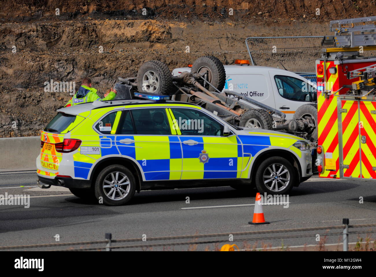Road Traffic Accident Scene On The M1 In Leeds Stock Photo, Royalty ...