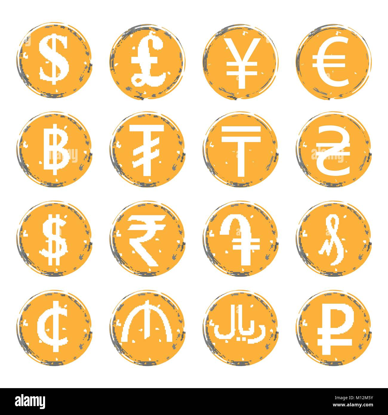 The currency of azerbaijan stock photos the currency of sixteen yellow gray vector grunge icons with white images of modern currency symbols of various biocorpaavc