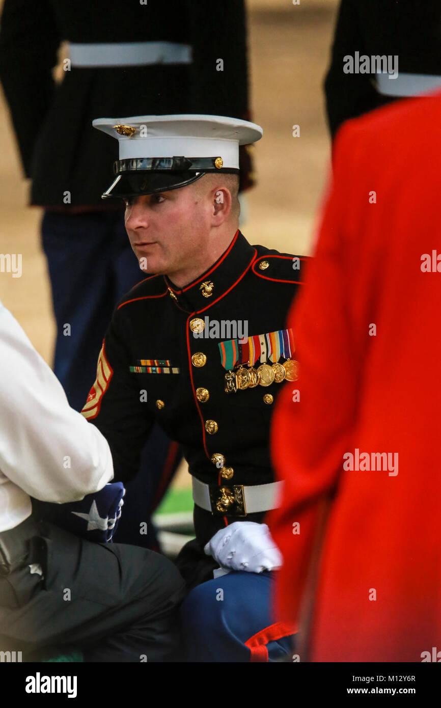 gunnery sergeant nicholas brundige assistant funeral director stock