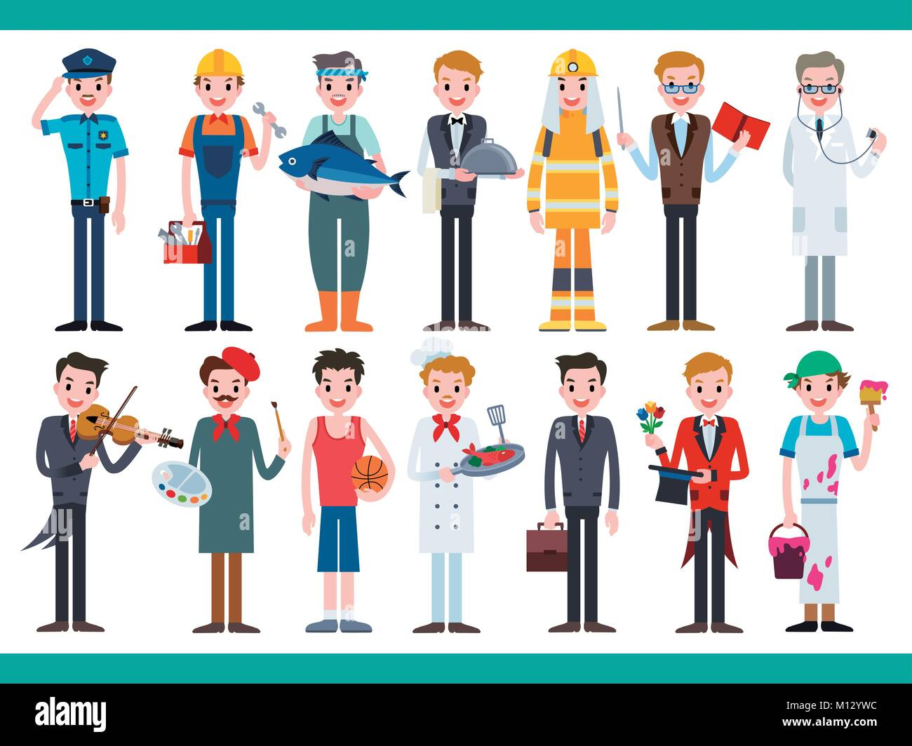 Different career set lovely characters in all kinds of for Character designer job