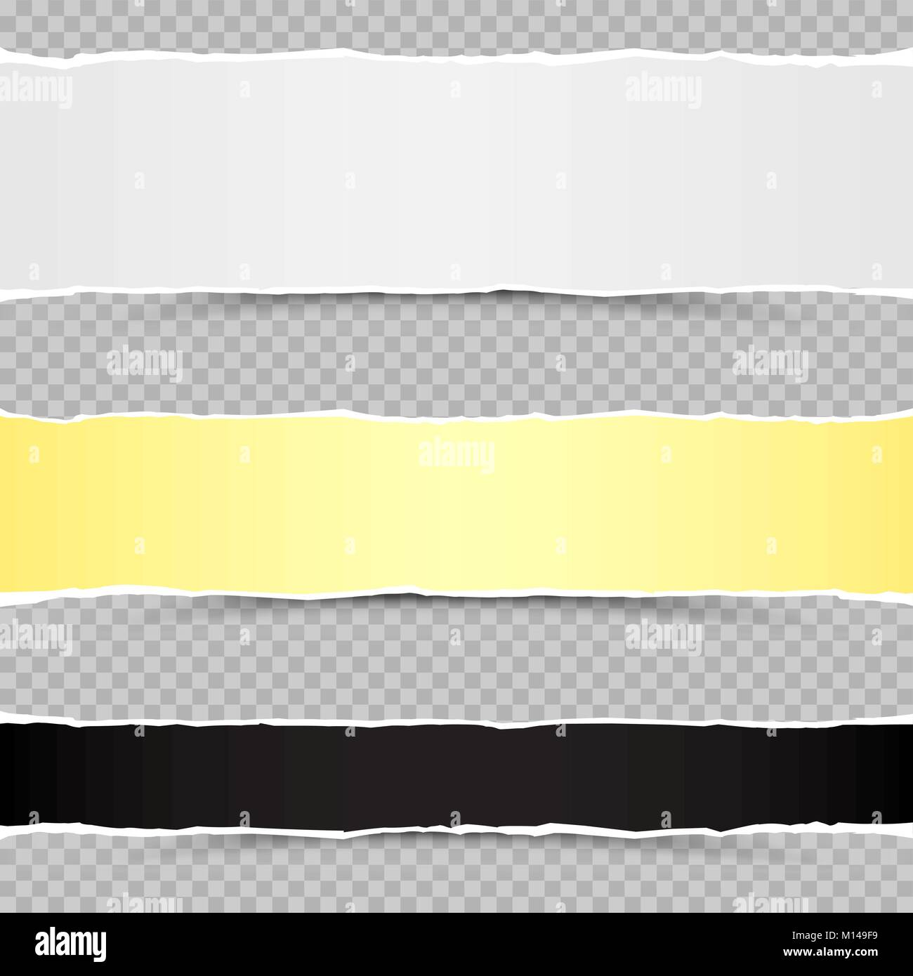 white yellow and black piaces of torn paper template with shadow on