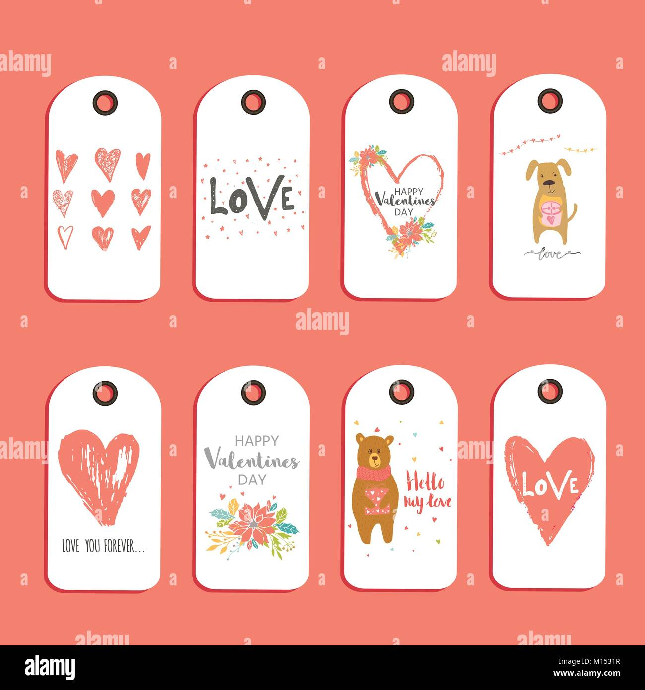 Lovely Set Of 8 Valentines Day Gift Card Label Tag Badge With