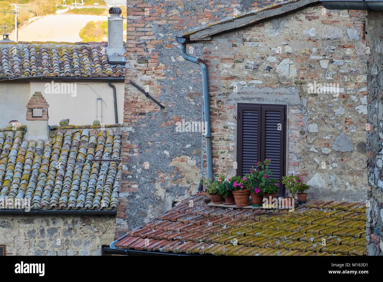 A view of the village of San Casciano dei Bagni, Italy. San Casciano ...