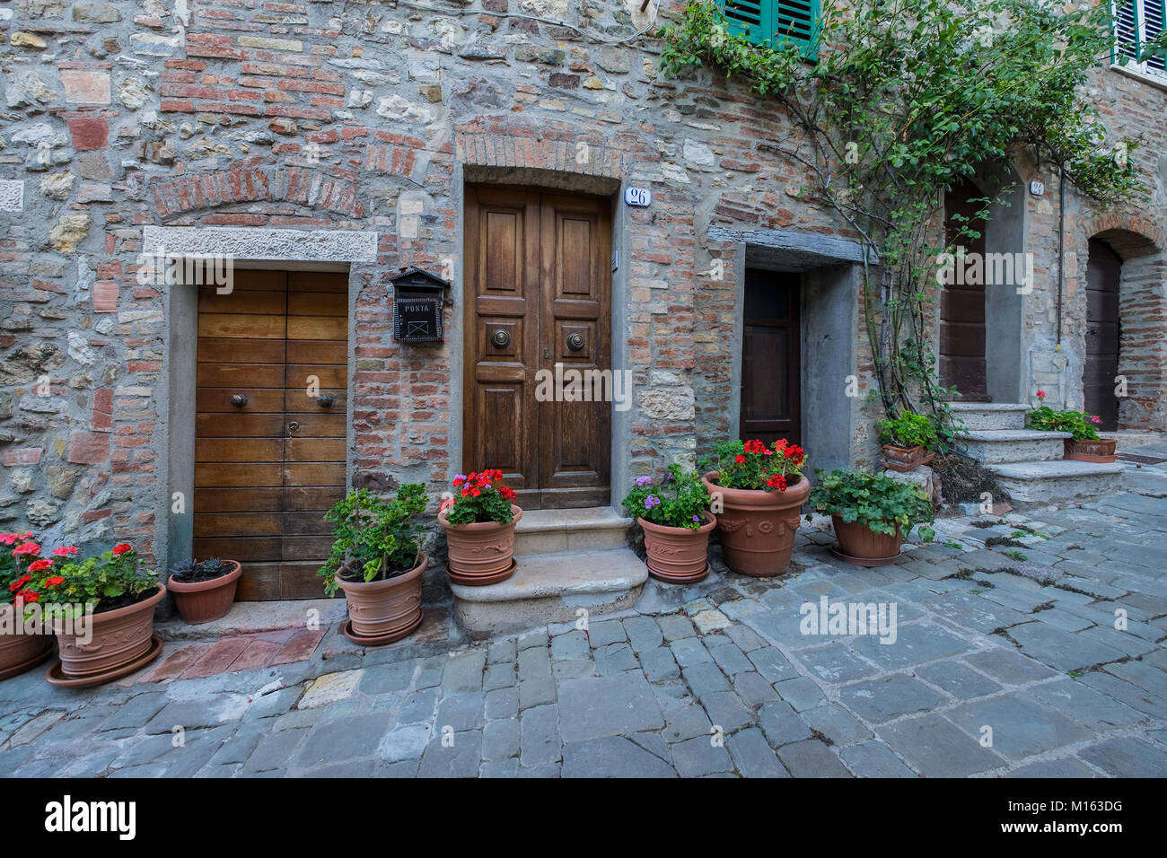 A view of the village of San Casciano dei Bagni, Italy. San ...