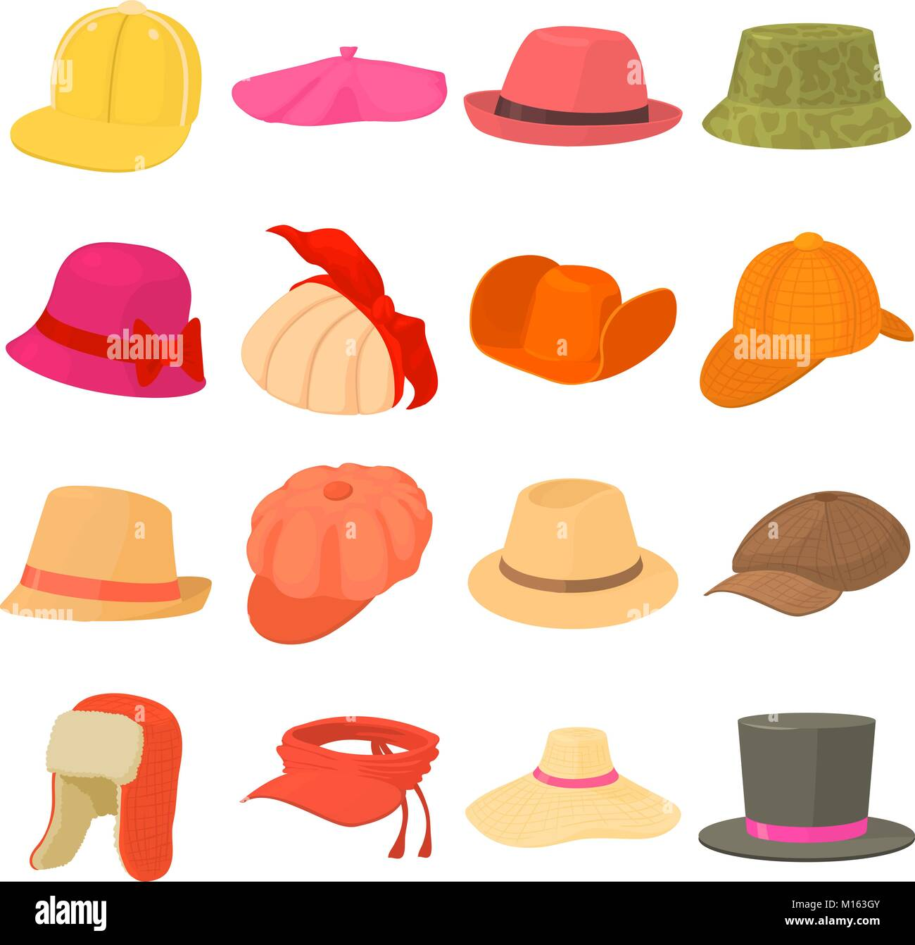 Hat types icons set headdress 2e4a7b09363