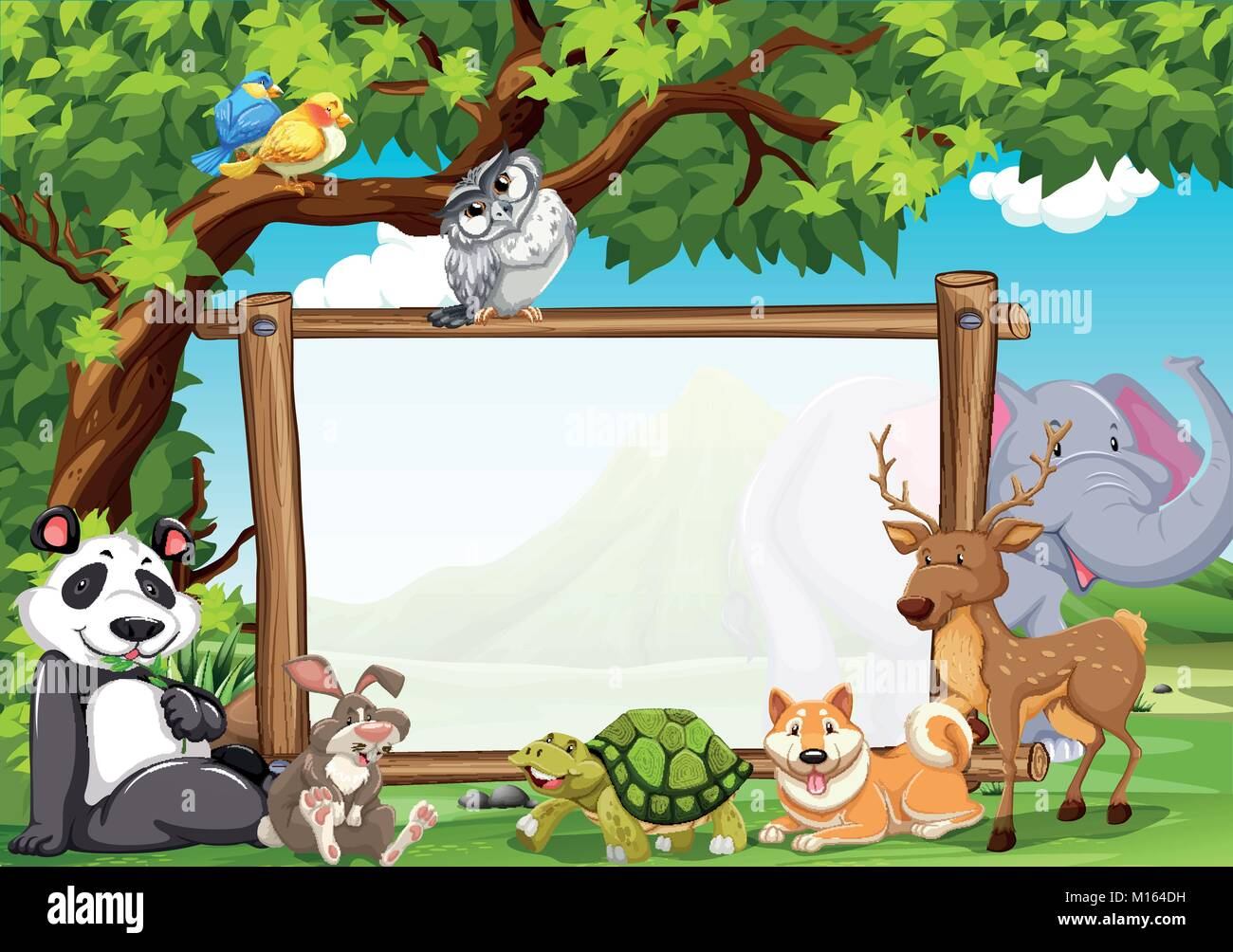 board template with wild animals in zoo illustration stock vector