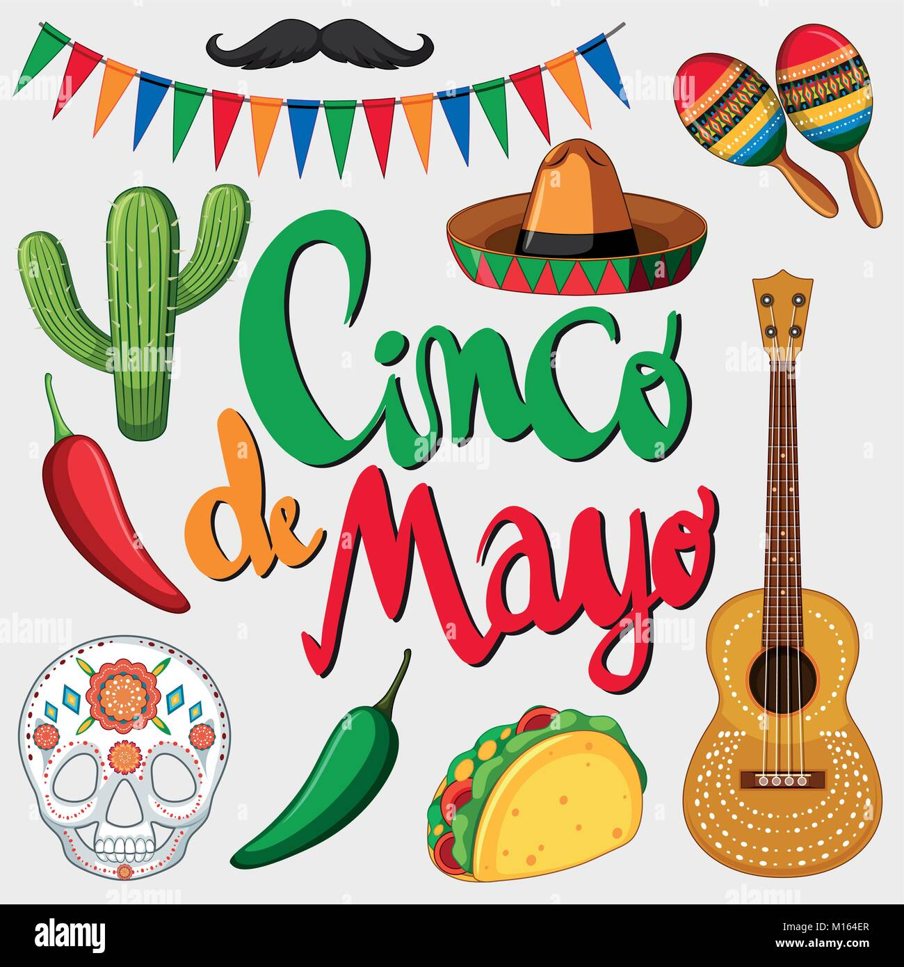 cinco de mayo card template with mexican hat and food illustration