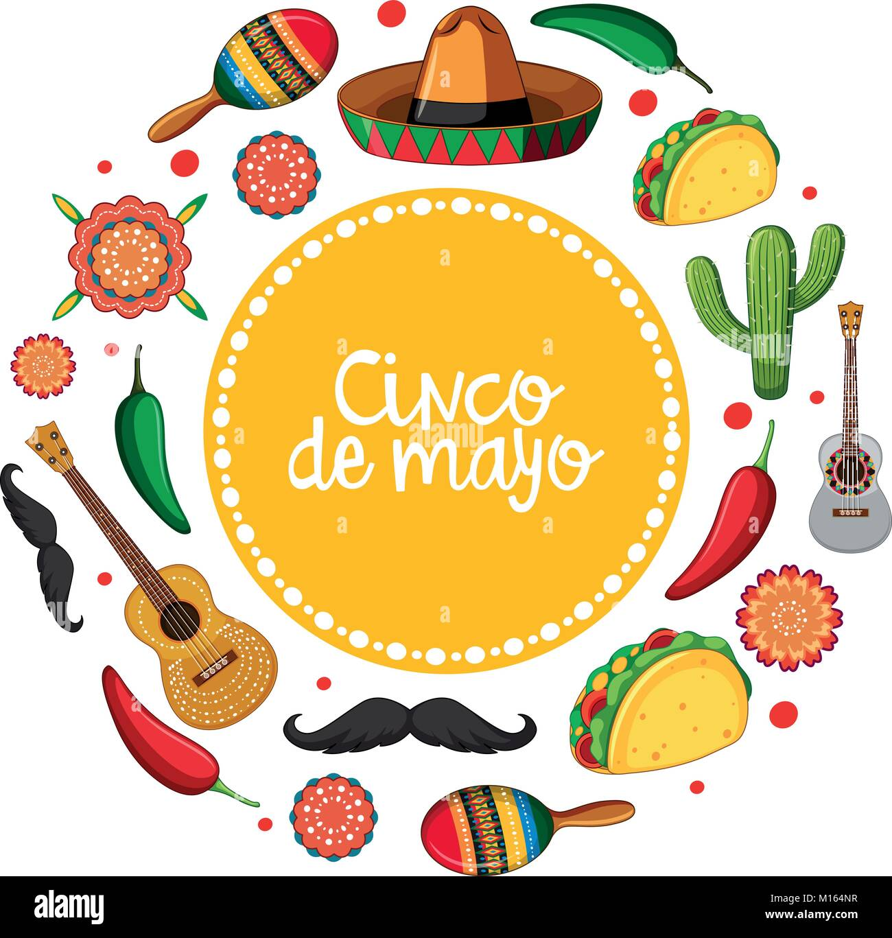 cinco de mayo card template with mexican musical instruments stock