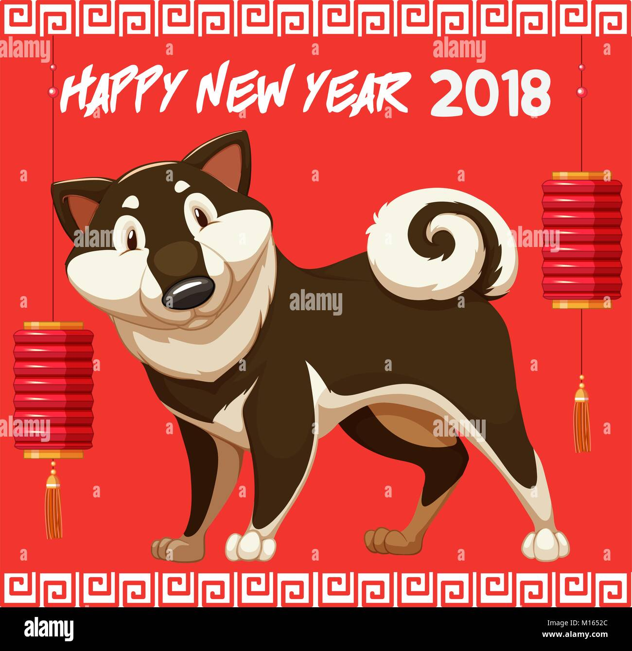 Happy New Year For 2018 With Cute Dog Illustration Stock Vector Art