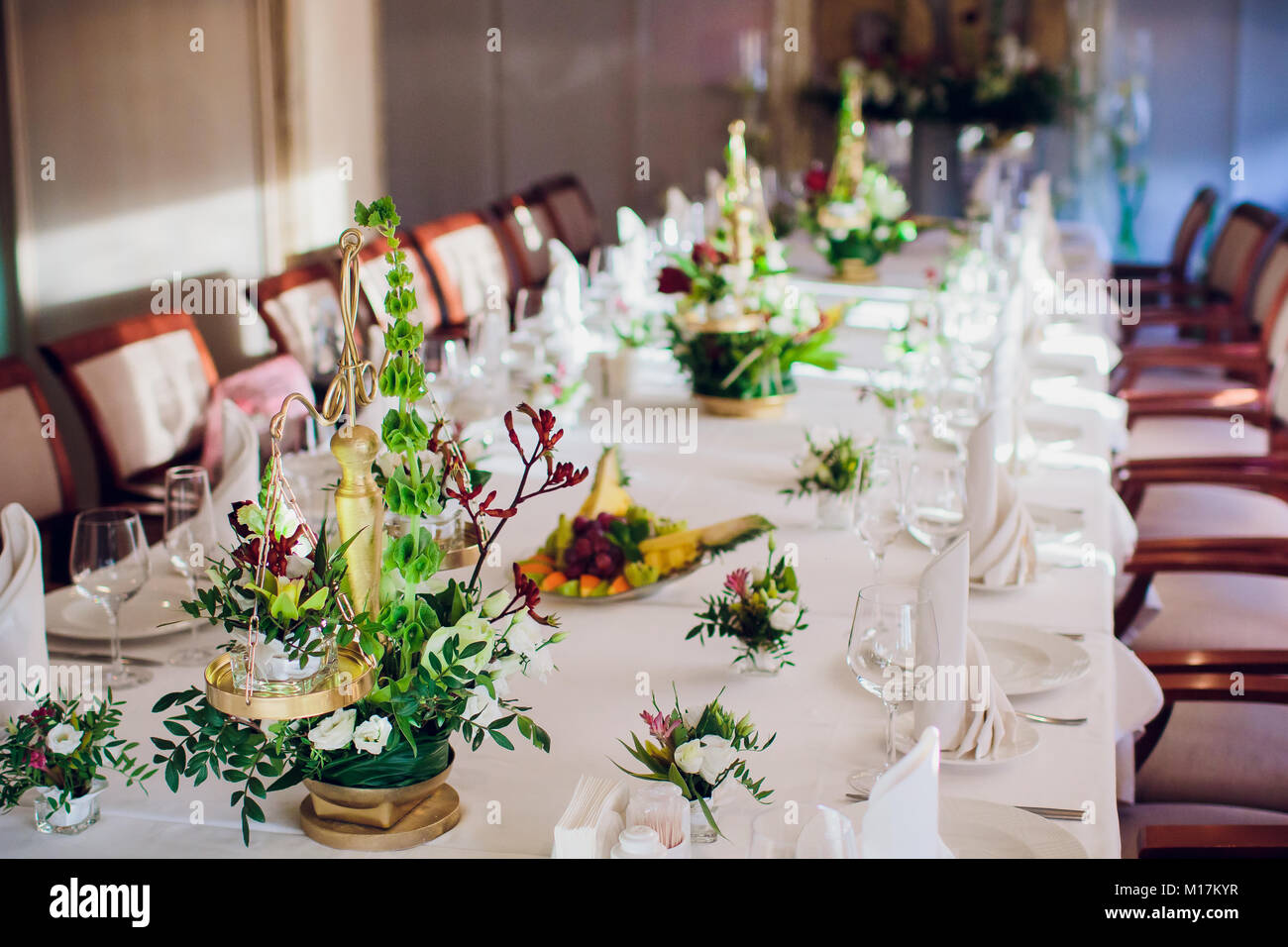 Wedding Reception Table Setting Aerial Top View Stock Photo