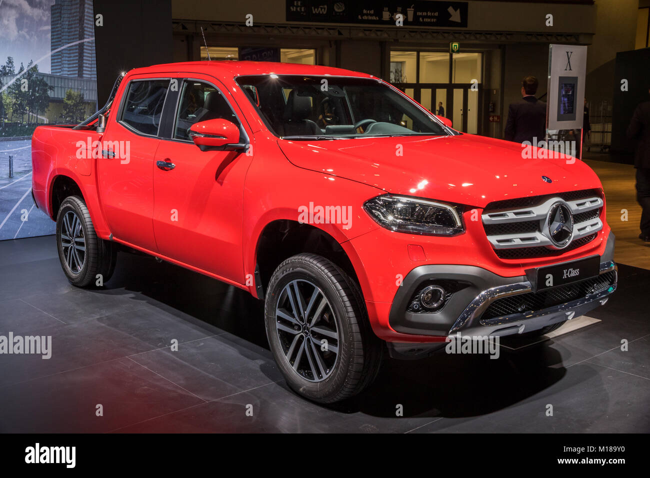 Brussels Jan 10 2018 Mercedes Benz X Class Luxury Pickup Truck